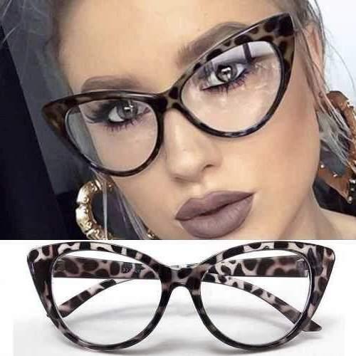 dioptria nélküli leopárd mintás cicás divat szemüveg